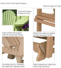 Gliding Adirondack Chairs Outdoor Poly Furniture Amish Patc2400 Comfo Back Adirondack Chair