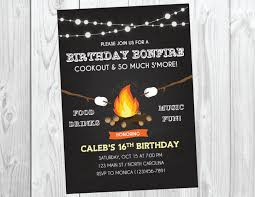 bonfire party invitation bonfire birthday fall birthday