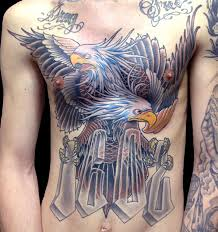 chest hawks eagles lettering neo traditional tattoo slave to the