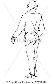 vectors illustration of vector sketch of a man looking back over