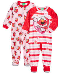 sesame 2 pk elmo footed coveralls toddler 2t 5t