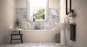 patterned tile bathroom tips for creating a wetroom blue walls delft and bathroom tiling