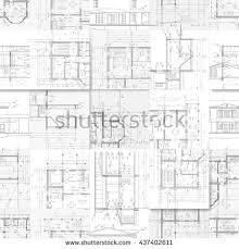 architectural building plans architectural drawings set facades building plans stock vector