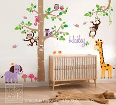 Nursery Tree Wall Decal by Tree Wall Decal With Jungle Animals Nursery Wall Decal Jungle