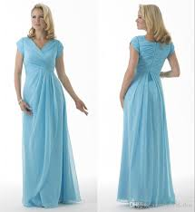 light sky blue 2017 modest bridesmaid dresses long with short