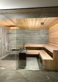 Backyard Steam Room Sauna Design In Stone Wood And Glass Bathrooms Pinterest