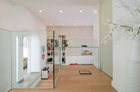 Glass Dividers Interior Design by Combining House Design With Wooden Floor And Glass Partitions