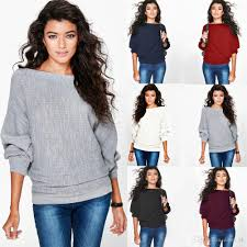 2017 ladies casual boat neck knitted long batwing dolman sleeve