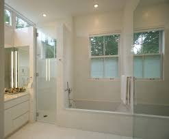 sidelight window film bathroom transitional with clean lines flush