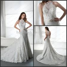 jeweled wedding dresses halter t back sheath bridal gowns jeweled lace tulle high