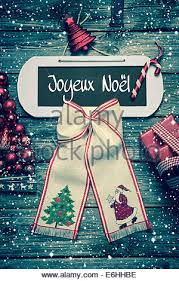 merry christmas greeting card french text decoration stock