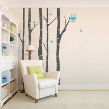 Bird Wall Decals For Nursery by Birch Trees With Owl And Birds Wall Decal