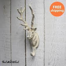 Stag Head Home Decor White Slimline Wall Mounted Metal Shoe Rack Idolza