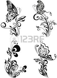 vector floral ornament with butterfly element for design royalty