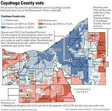Cities In Ohio Map by Cuyahoga County Precinct Map Shows Areas Where Obama Beat Romney