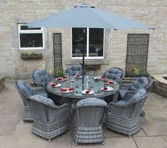 Rattan Patio Dining Set - luxury grey rattan garden furniture 8 seat round dining set with