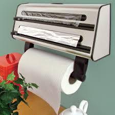 Wall Mounted Paper Roller Kitchen Triple Roll Dispenser Cling Film Tin Foil Towel Holder
