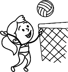 in bathing suit playing beach volleyball coloring page