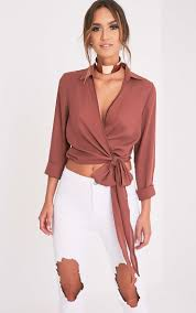 wrap blouses avalyn wrap front tie side blouse tops