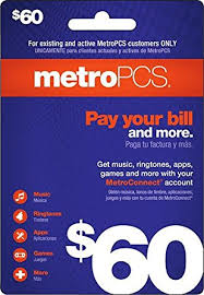 metropcs metro pcs 60 refill top up prepaid card 100