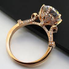 rose style rings images Sterling 14k 585 rose gold oxhead style 3carat wedding ring for jpg