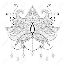 boho doodle lotus flower blackwork tattoo design indian paisley