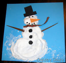 snowmen at christmas use glue and shaving cream mixed together