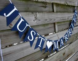 nautical themed weddings just married wedding banner wedding sign in navy blue and white