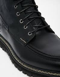 timberland britton heel moc toe boots in black for men lyst