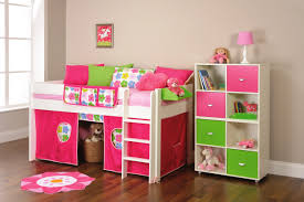 Small Rooms With Bunk Beds White Wooden Bunk Bed With Ladder And Pink Tent Combined By White