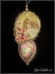 Antique Victorian Christmas Ornaments - victorian christmas ornament lace and roses fan victorian