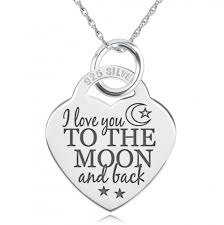 Necklace With Name Engraved I Love You To The Moon U0026 Back Necklace Personalised Engraved