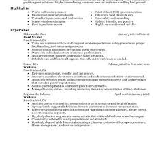 Restaurant Resume Sample server resume example banquet server resume examples with