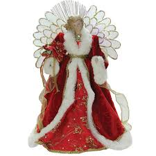 14 5 lighted b o fiber optic angel with red gown christmas tree