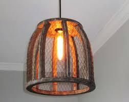Farmhouse Pendant Lighting Kitchen by Rustic Pendant Lighting Chicken Wire Farmhouse Pendant