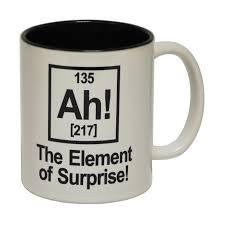 funny mugs ah the element of surprise design coffee mug geek
