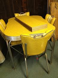 vintage dining room decoration using studded yellow dining chair