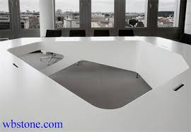 White Conference Table White Stone Polygon Large Conference Table Custom Design