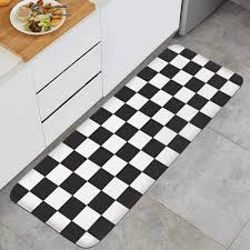 black and white kitchen floor images 47 18 kitchen mat classic black and white checkered microfiber rubber backing non slip water absorbent anti fatigue stylish foam kitchen rug