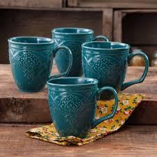 amazon com the pioneer woman farmhouse lace mug set ocean teal 4