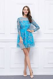short mini blue embroidered long sleeve homecoming party dresses