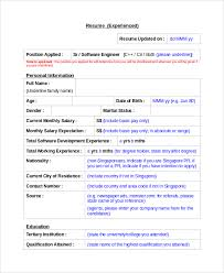 Sample Resume Personal Information by Resume Sample 8 Examples In Word