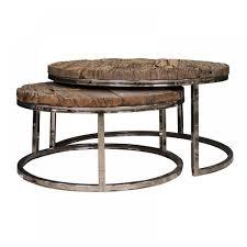 beistelltische landhaus 2er set couchtisch verchromt tisch holz metall couchtische