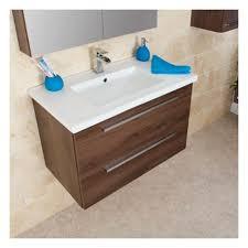 Wall Hung Vanity Unit With Basin Wall Hung Vanity Unit U0026 Basin Pacific Walnut 800mm Width