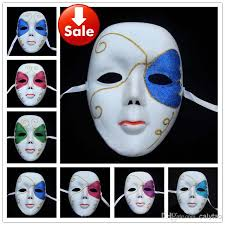 Mardi Gras Halloween Costume Face White Party Masks Carnival Hip Hop Dance Costume Mardi