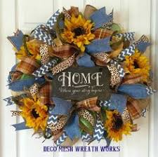 burlap sunflower wreath summer or fall sunflower burlap mesh wreath by williamsfloral