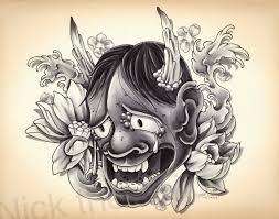 hannya mask samurai tattoo items similar to japanese hannya mask tattoo design print flash art