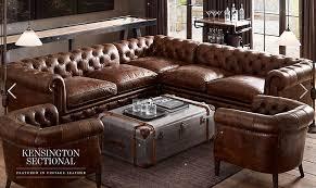 restoration hardware chesterfield sofa restoration hardware kensington sectional vintage leather brown