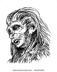 neanderthal man homo sapiens neanderthalensis bigfoot stock vector