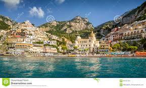 Positano Italy Map by Panorama Of Positano Town Amalfi Coast Italy Stock Photo Image